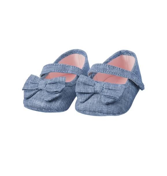 Chambray Bow Crib Shoe