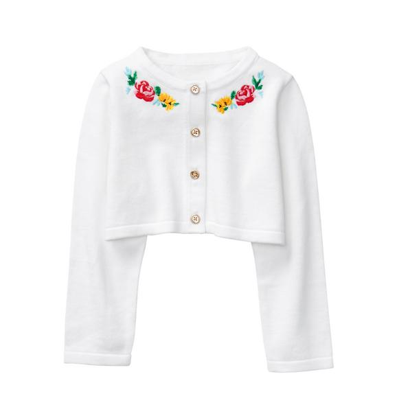 Embroidered Cropped Cardigan