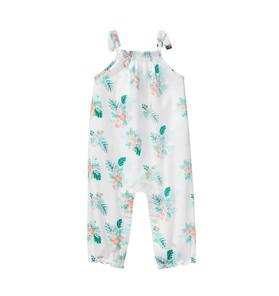 Palm Floral Smocked Jumpsuit