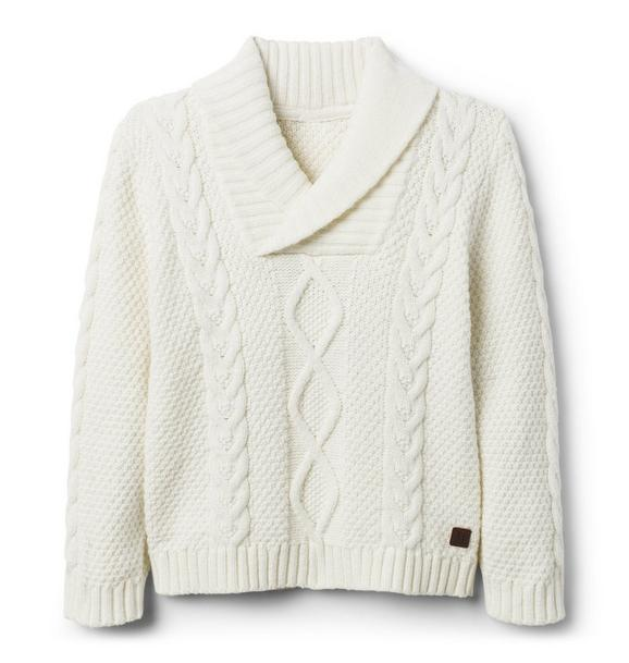 Cable Knit Shawl Sweater