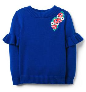 Embroidered Ruffle Sweater