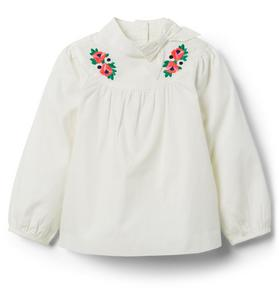 Embroidered Poplin Top