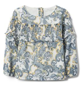 Smocked Paisley Top