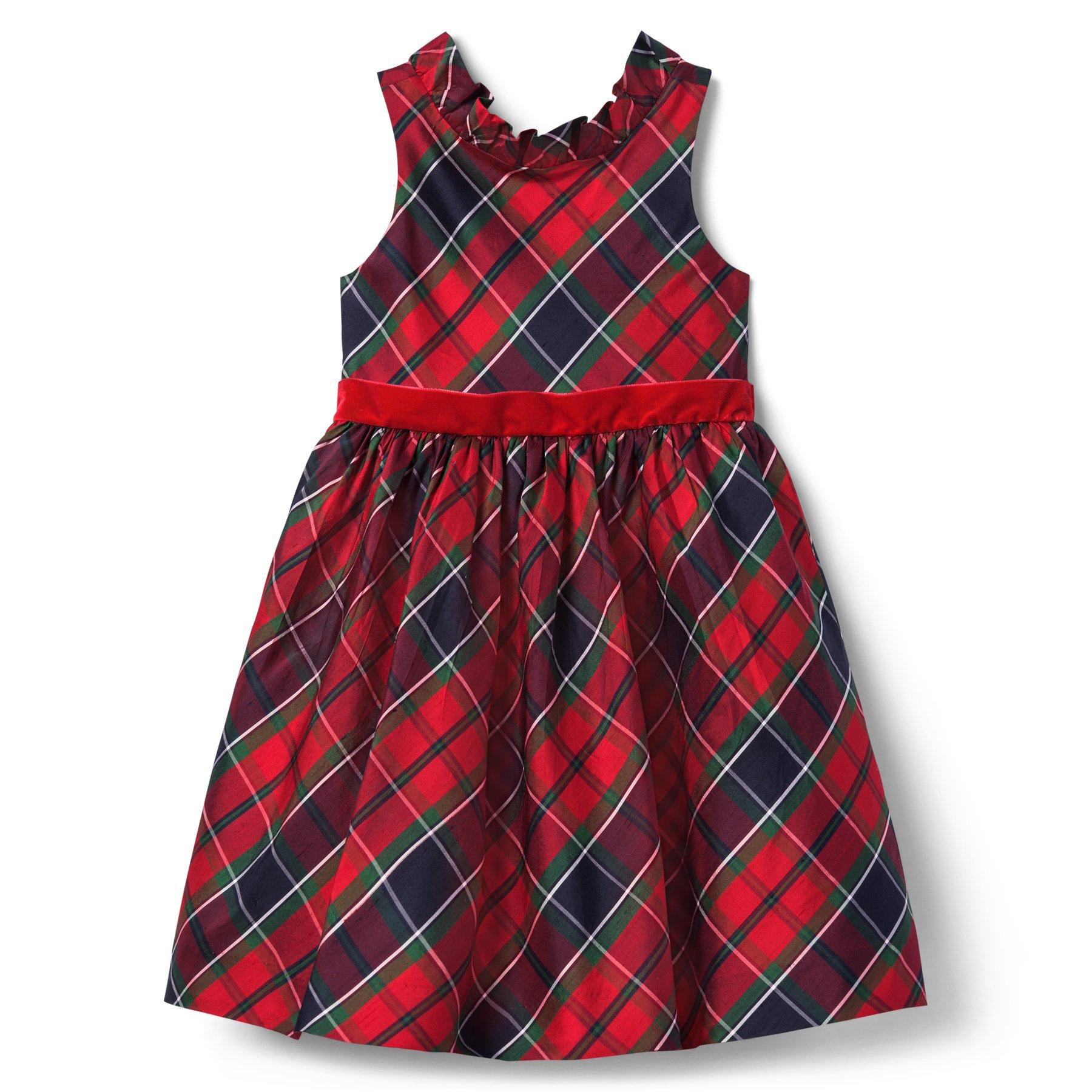 NWT Janie /& Jack PRETTY IN PLAID 3 Lace Print Dress Black Cream Cotton Satin