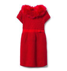 Faux Fur Trim Sweater Dress
