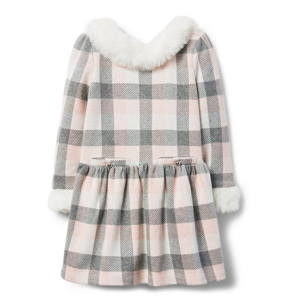 Checked Faux Fur Trim Dress