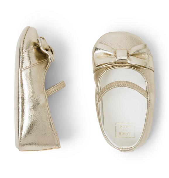 Metallic Bow Crib Shoe
