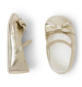Metallic Bow Crib Shoe