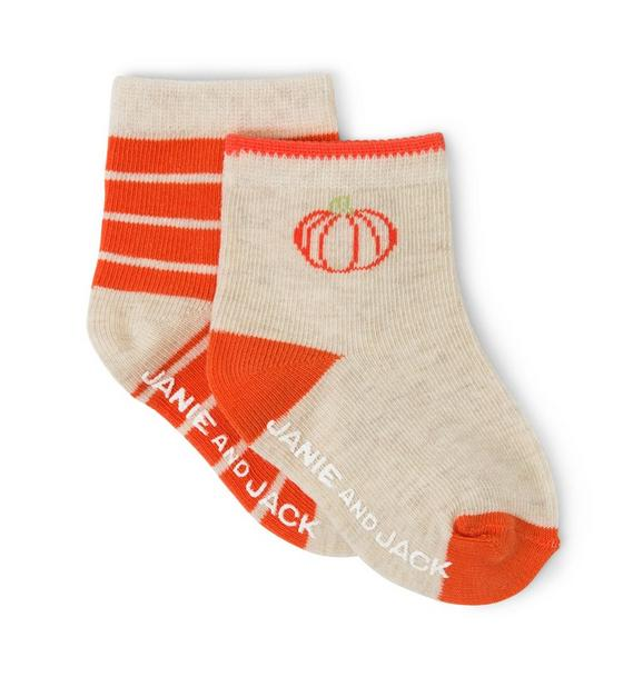 Pumpkin & Striped Sock 2-Pack