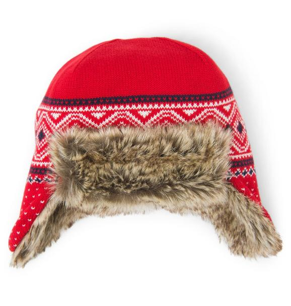 Faux Fur Lined Fair Isle Hat