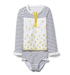 Striped Sailboat Rash Guard Set