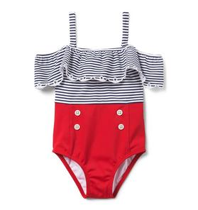 Striped Colorblocked Swimsuit