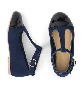 Suede T-Strap Flat