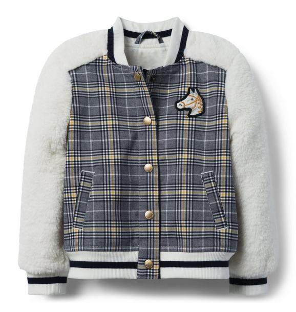Plaid Sherpa Letterman Jacket