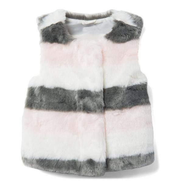 Striped Faux Fur Vest