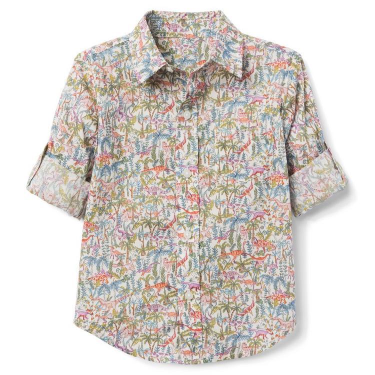 f468cbc429c83 Boy Ivory Dinosaur Print Liberty® Rumble And Roar Roll-Cuff Shirt by ...
