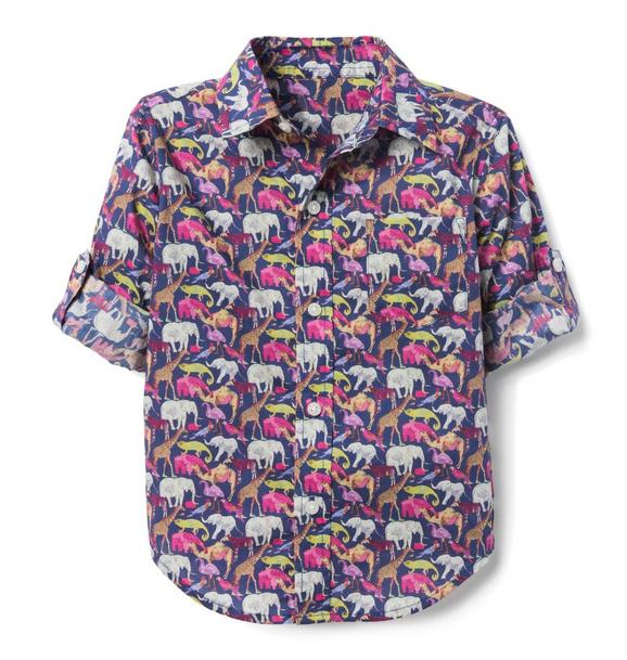 Liberty® Queue For The Zoo Roll-Cuff Shirt