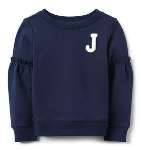 Logo Ruffle Sleeve Pullover