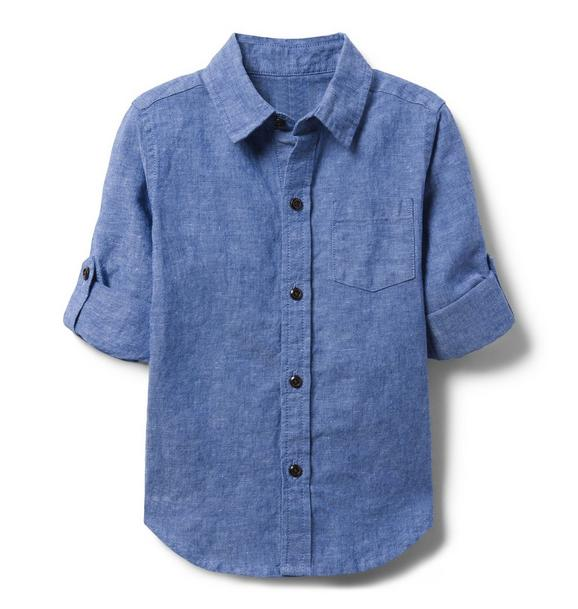 Chambray Linen Roll-Cuff Shirt