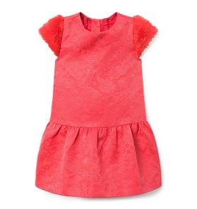 Faux Fur Trim Jacquard  Dress