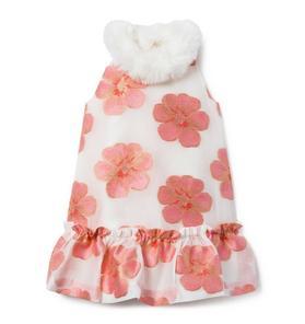 Floral Faux Fur Trim Dress