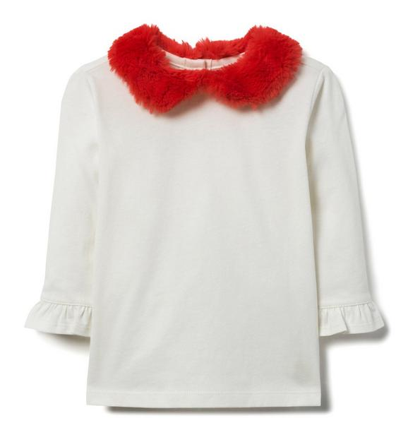 Faux Fur Collar Top