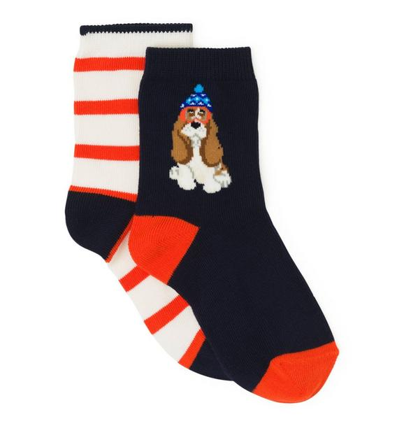 Stripe & Dog Sock 2-Pack