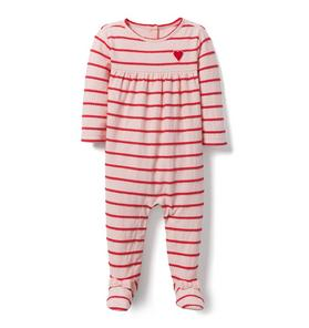 Striped Heart Footed 1-Piece