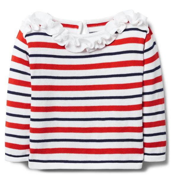 Striped Ruffle Sweater
