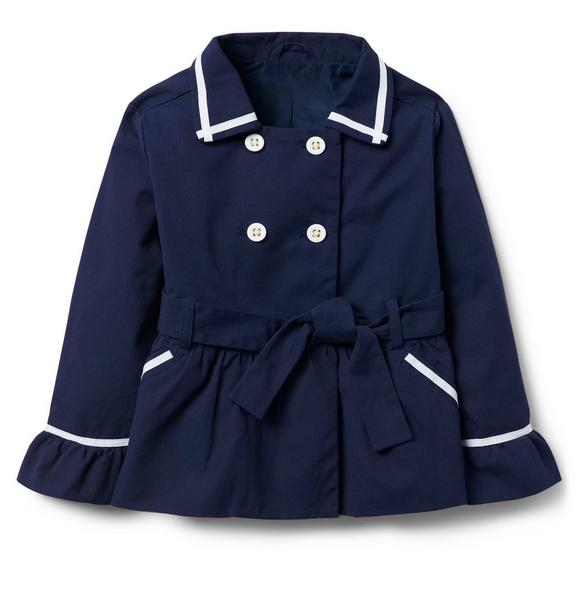 Ruffle Cuff Trench Coat
