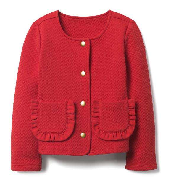 Quilted Ruffle Pocket Jacket