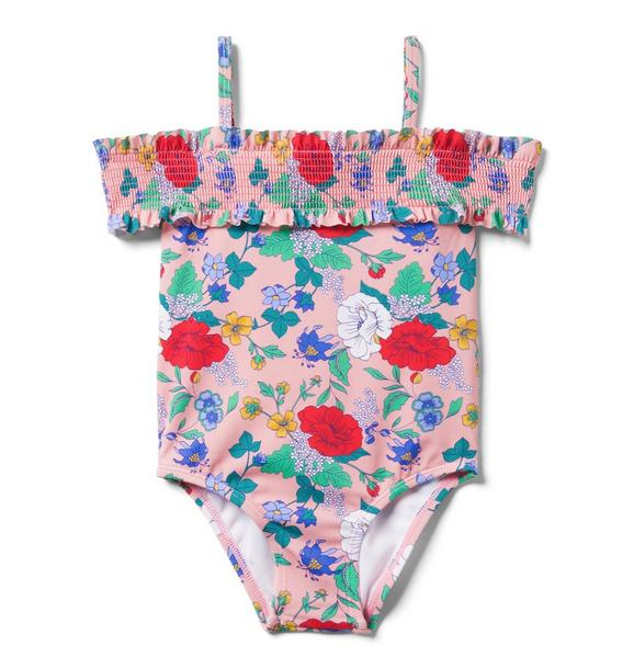 Smocked Floral Swimsuit