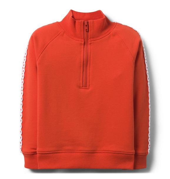 Appliqué Sleeve Half-Zip Pullover
