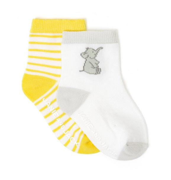 Elephant & Striped Sock 2-Pack
