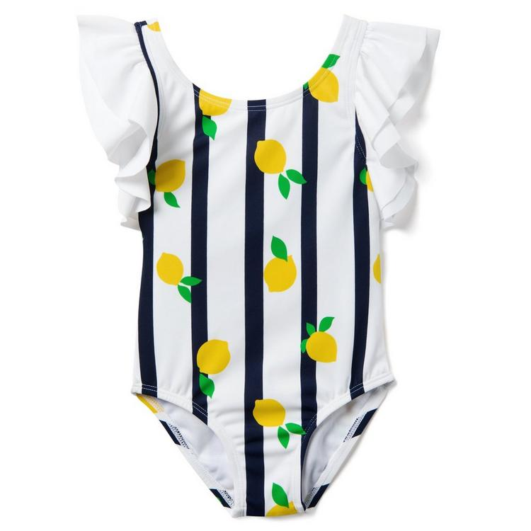 60fde7bdfed6fc Girl White Striped Lemon Print Striped Lemon Swimsuit by Janie and Jack