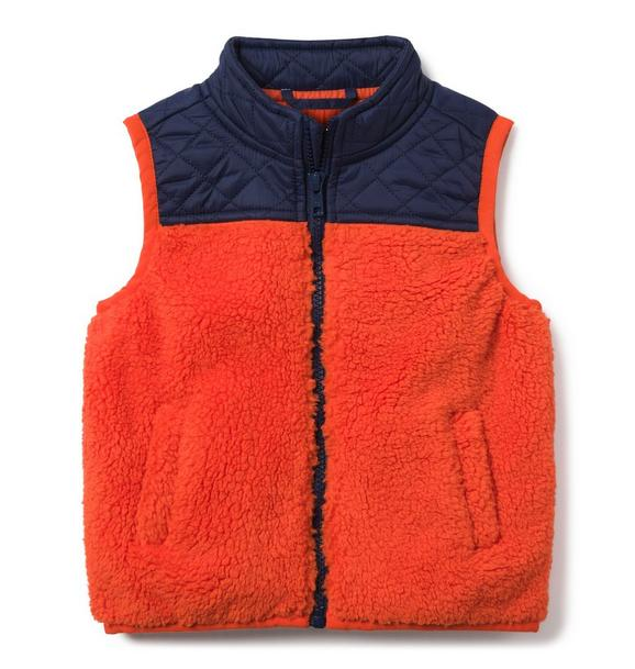 Colorblocked Sherpa Vest