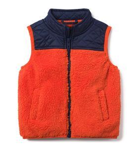 Colorblocked Sherpa Vest