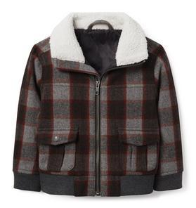 Plaid Wool Aviator Jacket