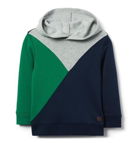 Pieced Hooded Sweatshirt