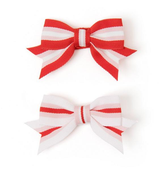 Striped Bow Barrette Set