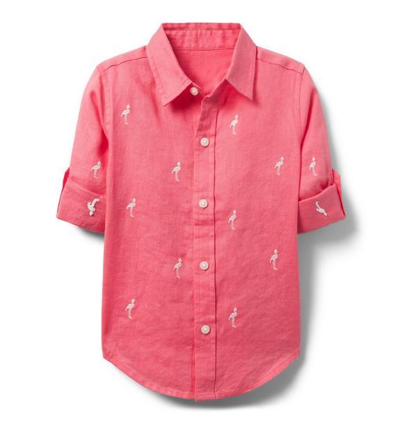 Embroidered Linen Roll-Cuff Shirt
