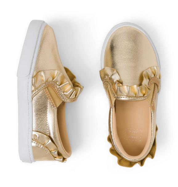 Metallic Ruffle Slip-On Sneaker