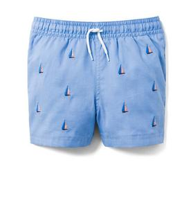 Embroidered Oxford Swim Trunk