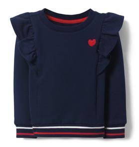Heart Ruffle Sweatshirt