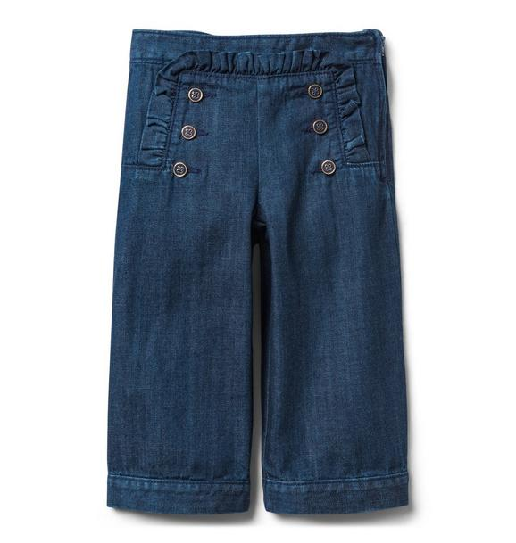 Ruffle Wide-Leg Jean