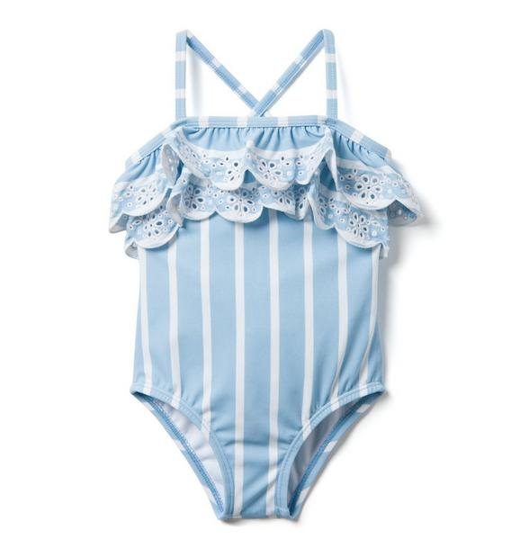 AERIN Striped Eyelet Swimsuit