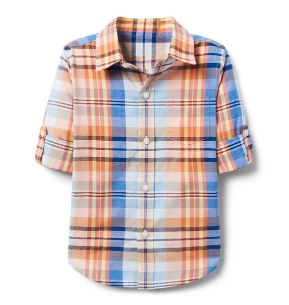 AERIN Roll-Cuff Madras Plaid Shirt