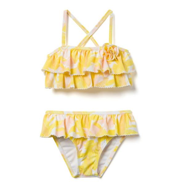 AERIN Leaf Print Ruffle 2-Piece Swimsuit