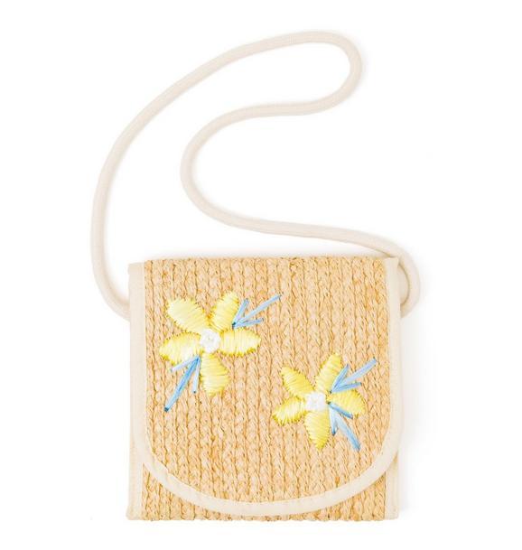 Flower Straw Crossbody Bag