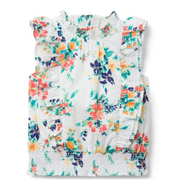 Swiss Dot Floral Ruffle Top